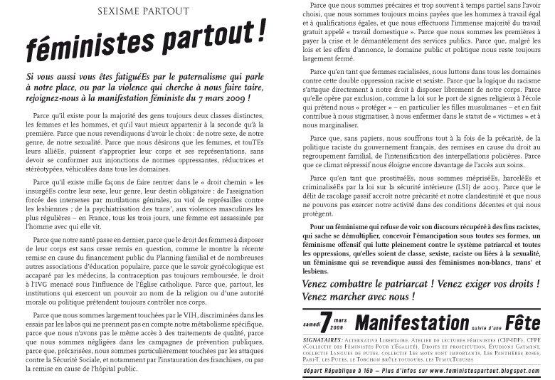 Tract pour la manifestation du 7 mars